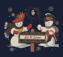 Old fashion Christmas Winter Let it snow cute Snowman  Baby Tee