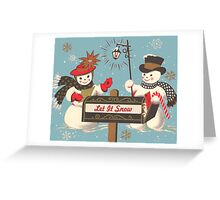 Old fashion Christmas Winter Let it snow cute Snowman  Greeting Card