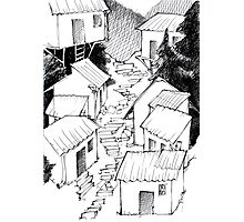 Fairytale village - lineart Photographic Print