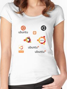 ubuntu linux stickers set Women's Fitted Scoop T-Shirt