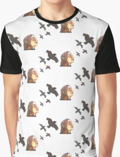 Colorful Aesthetic Girl Bird Watching  Graphic T-Shirt