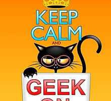 Keep Calm and Geek on! Cartoon Cat by BluedarkArt