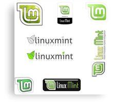 linux mint stickers set Canvas Print
