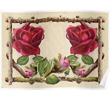 Vintage Rustic Red Roses Antique Flowers Poster