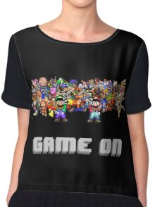 Game On! Video Game Crowd with Mario and Luigi Chiffon Top