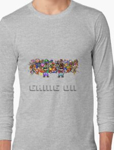 Game On! Video Game Crowd with Mario and Luigi Long Sleeve T-Shirt