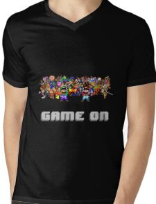 Game On! Video Game Crowd with Mario and Luigi Mens V-Neck T-Shirt