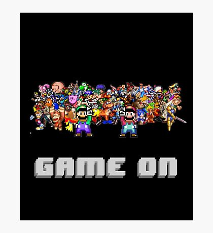 Game On! Video Game Crowd with Mario and Luigi Photographic Print