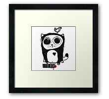 Nice cat and bird Framed Print