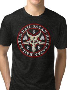 Hail Satan Baphomet in Occult Inverted Pentagram Tri-blend T-Shirt