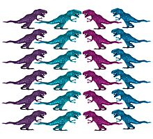 Colorful Dinosaur Pattern  Photographic Print