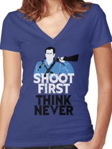 Shoot First, Think Never Women's Fitted V-Neck T-Shirt