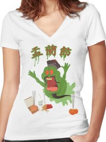 Hungry Ghost Busted Women's Fitted V-Neck T-Shirt