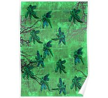Dragonflies Green Forest Poster