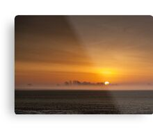 Misty sunrise over the Lincolnshire Fens Metal Print