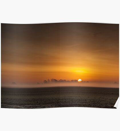 Misty sunrise over the Lincolnshire Fens Poster