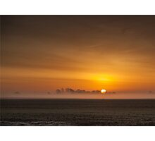 Misty sunrise over the Lincolnshire Fens Photographic Print