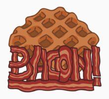 Waffle bacon logo Kids Tee
