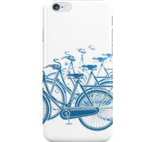 Blue motion bike a white background iPhone Case/Skin
