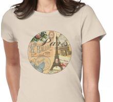 French Paris Vintage Collage France Europe Travel Womens Fitted T-Shirt