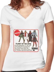 Mego Planet of the Apes Action Figures Women's Fitted V-Neck T-Shirt