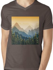 Blue mountains with forest on sunset Mens V-Neck T-Shirt