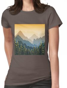 Blue mountains with forest on sunset Womens Fitted T-Shirt