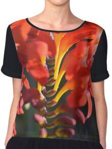Fiery Red Flower Chiffon Top