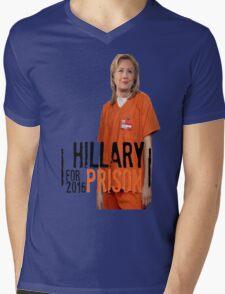 Funny Hillary For Prison '16 Democrat OITNB Orange Is The New Black Netflix Anti Hillary Clinton Piper Chapman Donald Trump Bernie Sanders Mens V-Neck T-Shirt