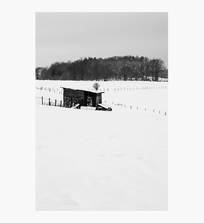 Wooden Stable In Winter Landscape Photographic Print