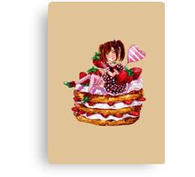 Strawberry Shortcake Watercolor Painting Canvas Print