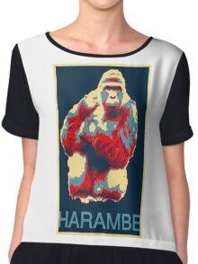 Harambe RIP Silverback Gorilla Gentle Giant Obama Style Poster Tribute Zoo Chiffon Top