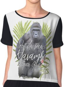 Harambe RIP Silverback Gorilla Gentle Giant Watercolor Tribute Animal Rights Activist Zoo Chiffon Top
