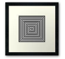 Black and White Square Spiral Framed Print