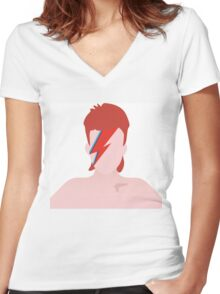 David Bowie Aladdin Sane Minimal Art Cover Women's Fitted V-Neck T-Shirt