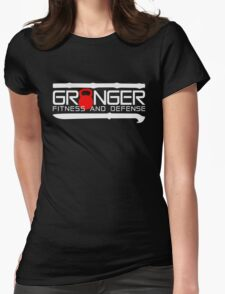 Granger Fitness and Defense Red And White Full logo Womens Fitted T-Shirt