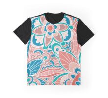 Spring Peach and Teal, Boho Floral Graphic T-Shirt