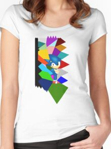 Sonic technicolor mosaic  Women's Fitted Scoop T-Shirt
