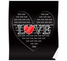 Cute Word Art Love Red Heart Poster