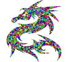 Rainbow Pixel Dragon Photographic Print