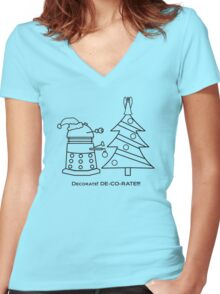 A Very Dalek Christmas - Light Women's Fitted V-Neck T-Shirt