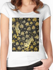 Tiger, jungle animal pattern Women's Fitted Scoop T-Shirt