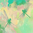 Green Painting Dragonflies by Vitta