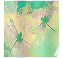 Green Painting Dragonflies Poster
