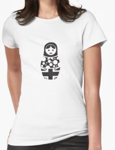 Russian Doll Black & White Womens Fitted T-Shirt