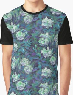 """White roses, blue leaves"" hand drawn floral pattern Graphic T-Shirt"