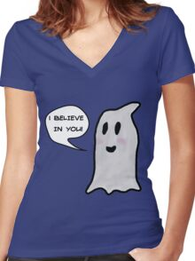 This Ghost Believes in You! Women's Fitted V-Neck T-Shirt