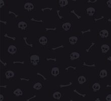 Gray Cartoon Skulls on Black Background Seamless Pattern by Voysla