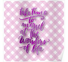 """Take time to marvel at the wonderful life"",typography,play pink,plaid,pattern Poster"