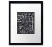 Beijing Map, China - Gray  Framed Print